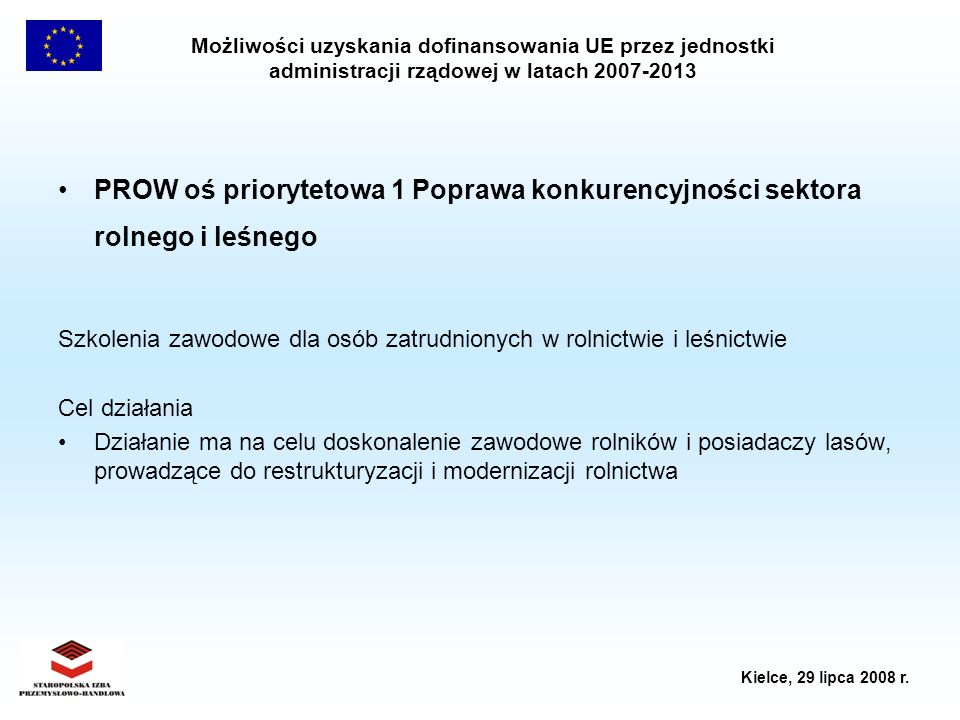 PROW oś priorytetowa 1 Poprawa konkurencyjności sektora rolnego i leśnego