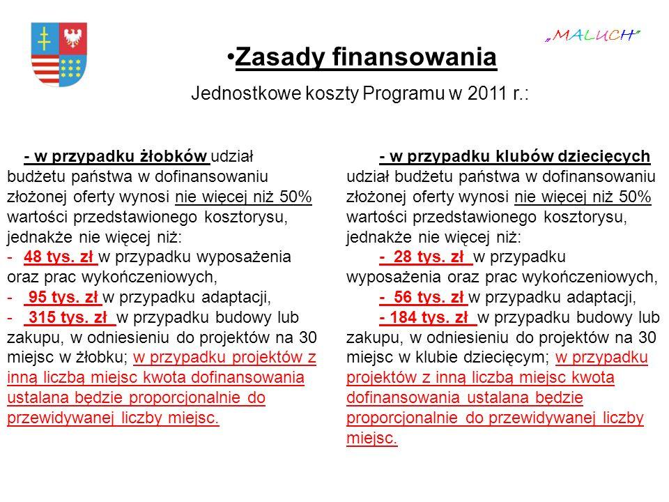 """Zasady finansowania Jednostkowe koszty Programu w 2011 r.: """"MALUCH"""