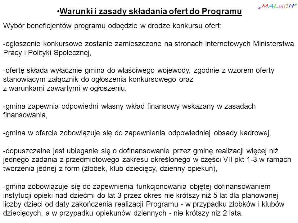 Warunki i zasady składania ofert do Programu