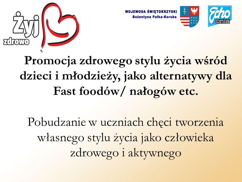 Promocja zdrowego stylu życia wśród dzieci i młodzieży, jako alternatywy dla Fast foodów/ nałogów etc.