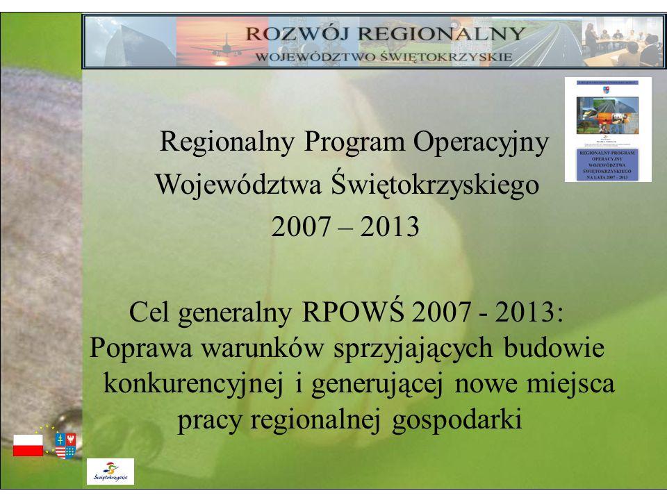 Regionalny Program Operacyjny Województwa Świętokrzyskiego 2007 – 2013