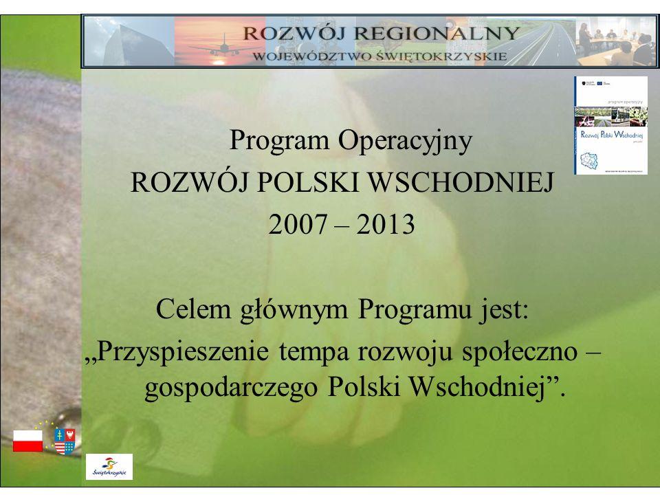 ROZWÓJ POLSKI WSCHODNIEJ 2007 – 2013 Celem głównym Programu jest: