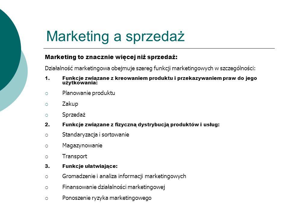 Marketing a sprzedaż Marketing to znacznie więcej niż sprzedaż: