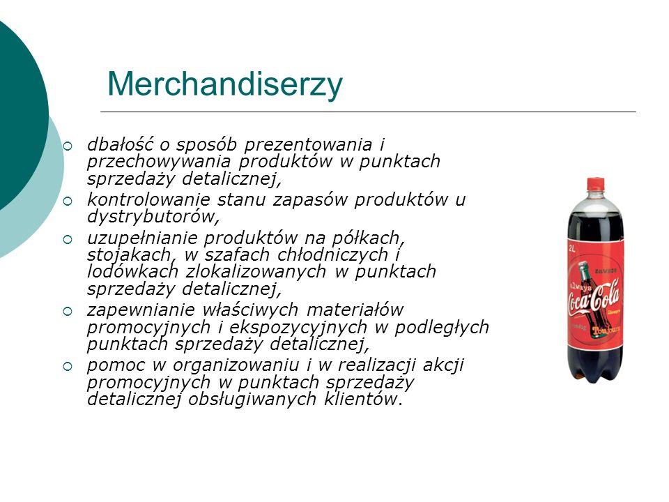 Merchandiserzydbałość o sposób prezentowania i przechowywania produktów w punktach sprzedaży detalicznej,