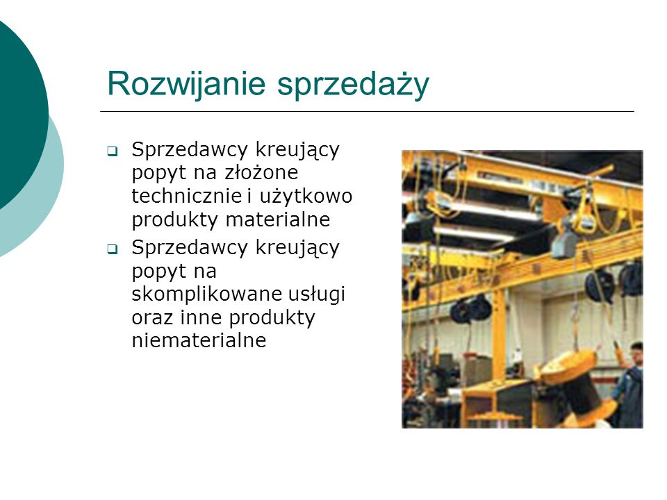 Rozwijanie sprzedaży Sprzedawcy kreujący popyt na złożone technicznie i użytkowo produkty materialne.
