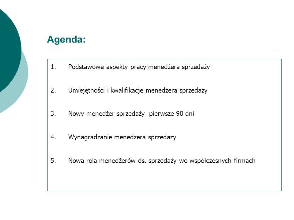 Agenda: Podstawowe aspekty pracy menedżera sprzedaży