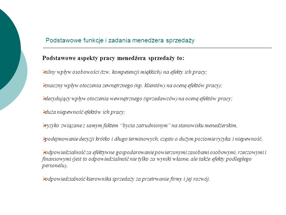 Podstawowe funkcje i zadania menedżera sprzedaży