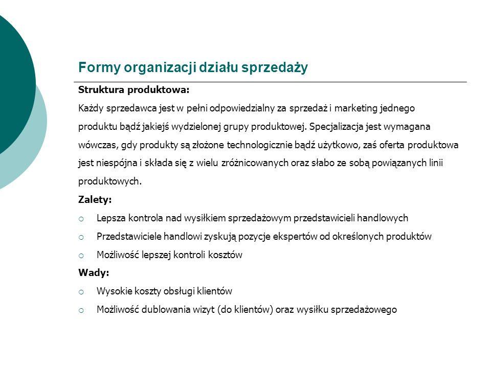 Formy organizacji działu sprzedaży