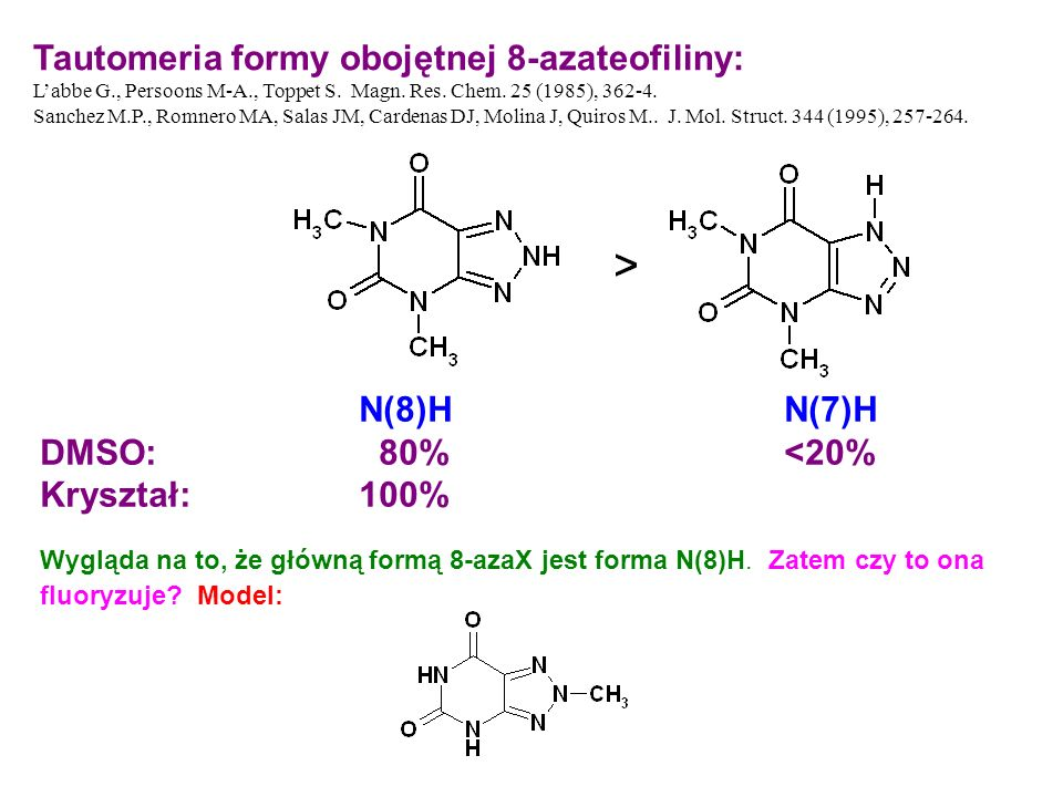 Tautomeria formy obojętnej 8-azateofiliny: