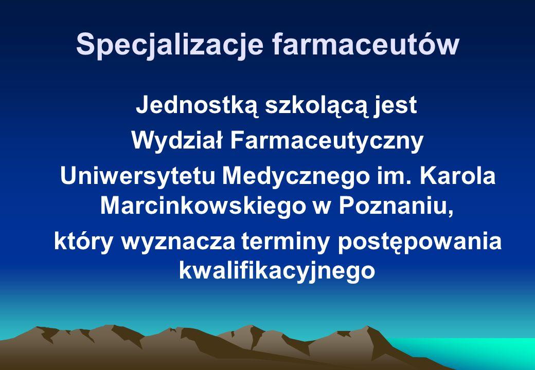 Specjalizacje farmaceutów