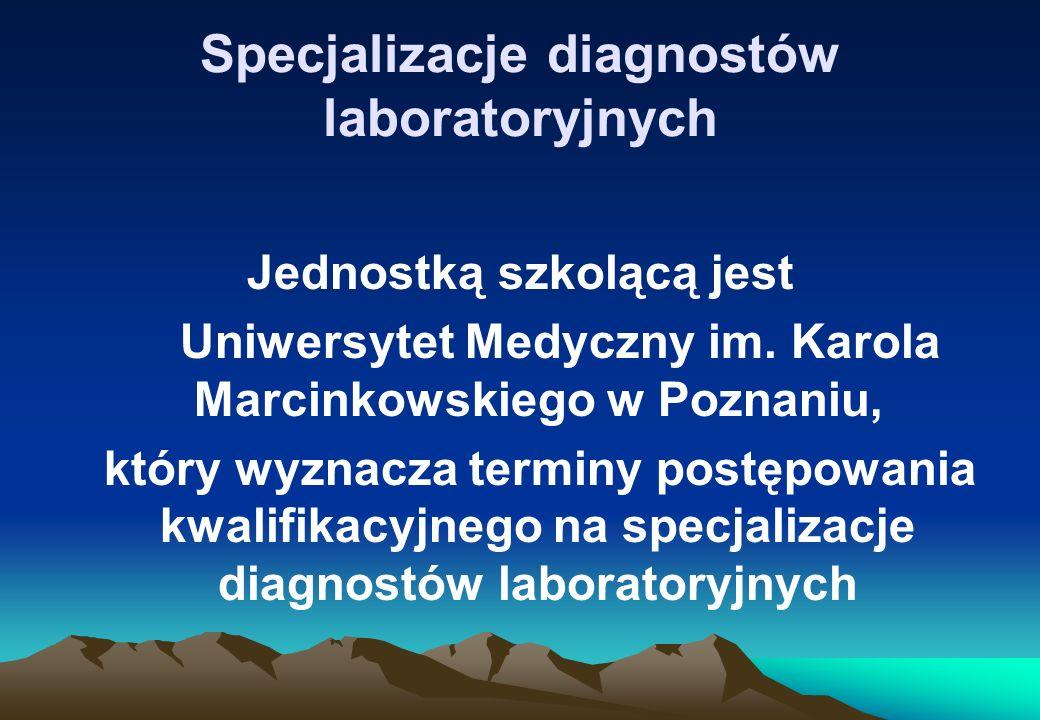 Specjalizacje diagnostów laboratoryjnych