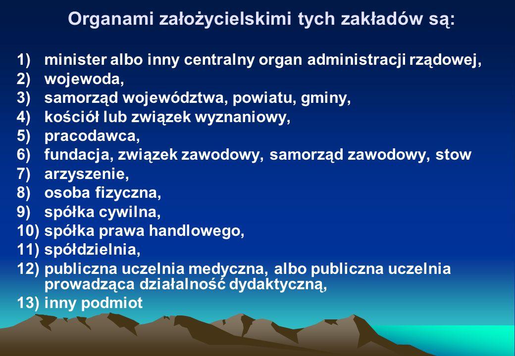 Organami założycielskimi tych zakładów są: