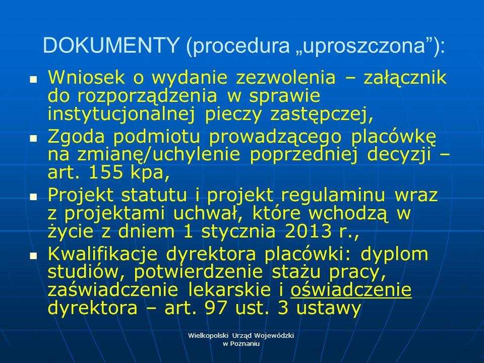 """DOKUMENTY (procedura """"uproszczona ):"""