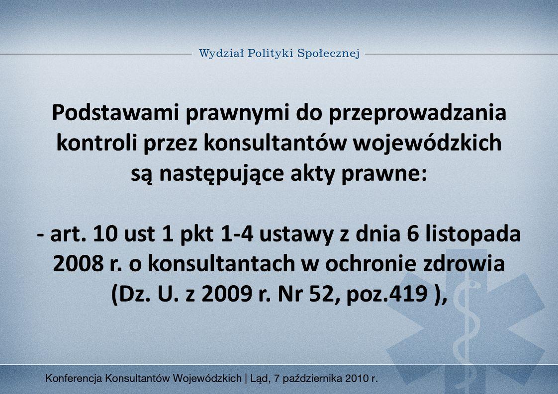 Podstawami prawnymi do przeprowadzania kontroli przez konsultantów wojewódzkich są następujące akty prawne: