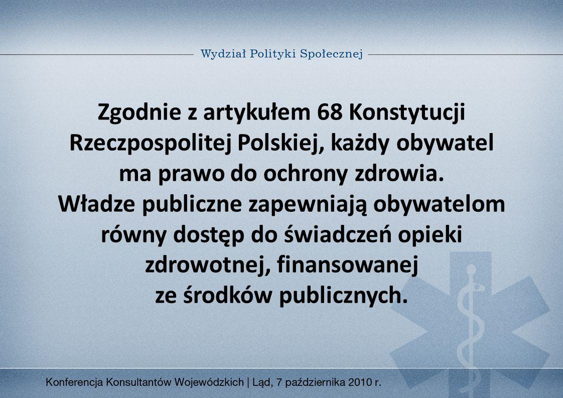 Zgodnie z artykułem 68 Konstytucji Rzeczpospolitej Polskiej, każdy obywatel ma prawo do ochrony zdrowia.