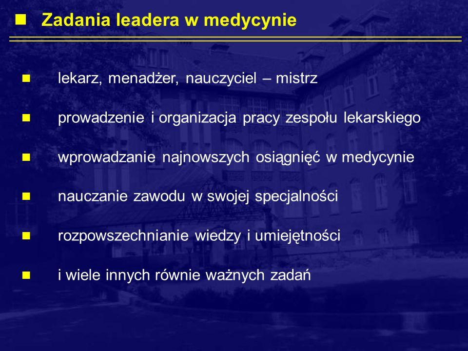 Zadania leadera w medycynie