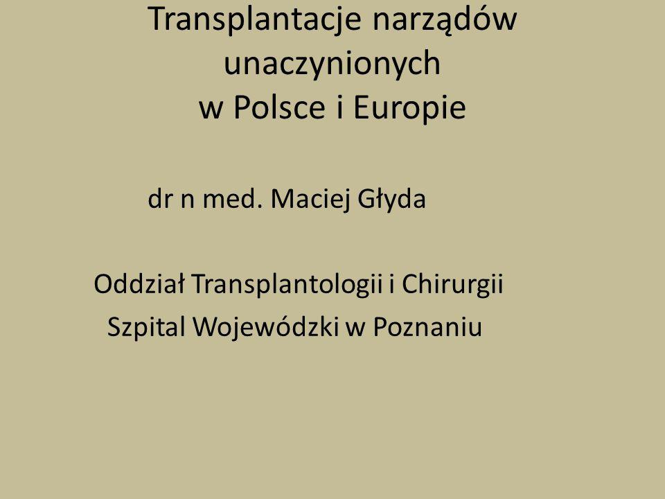 Transplantacje narządów unaczynionych w Polsce i Europie