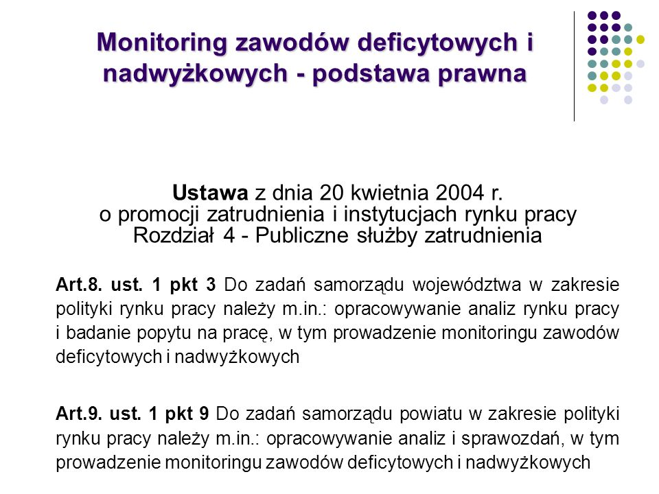 Monitoring zawodów deficytowych i nadwyżkowych - podstawa prawna