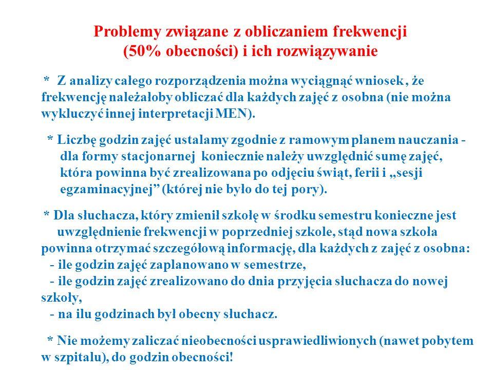 Problemy związane z obliczaniem frekwencji