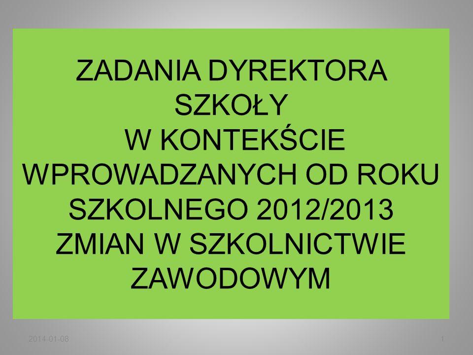 ZADANIA DYREKTORA SZKOŁY W KONTEKŚCIE WPROWADZANYCH OD ROKU SZKOLNEGO 2012/2013 ZMIAN W SZKOLNICTWIE ZAWODOWYM