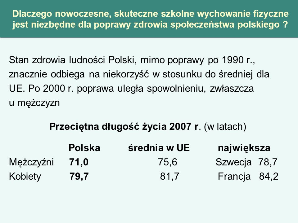 Przeciętna długość życia 2007 r. (w latach)