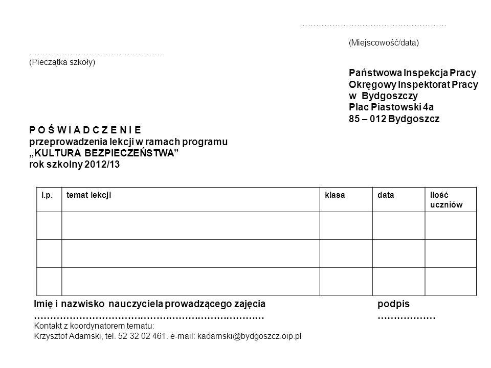 Okręgowy Inspektorat Pracy w Bydgoszczy Plac Piastowski 4a
