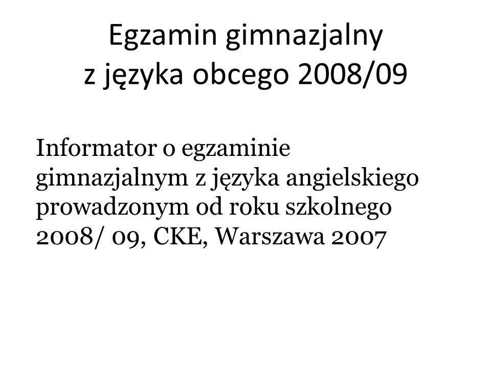 Egzamin gimnazjalny z języka obcego 2008/09