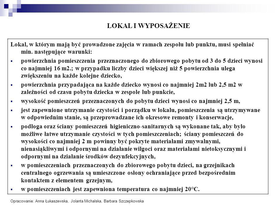 LOKAL I WYPOSAŻENIELokal, w którym mają być prowadzone zajęcia w ramach zespołu lub punktu, musi spełniać min. następujące warunki: