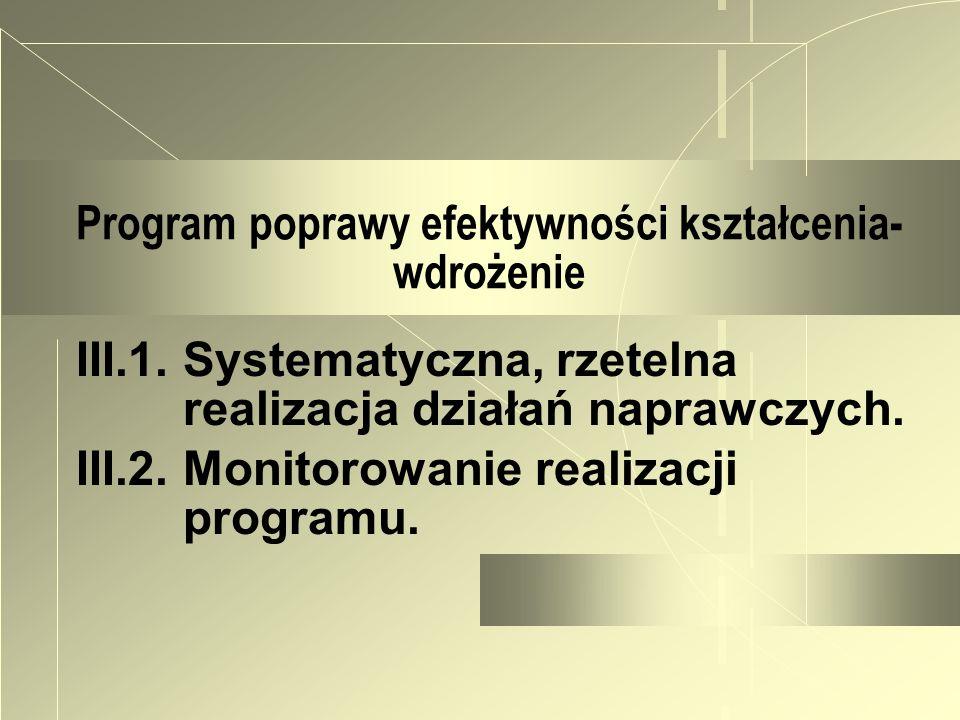 Program poprawy efektywności kształcenia- wdrożenie