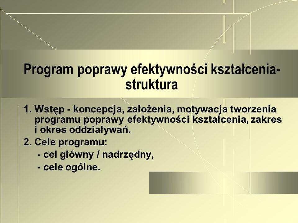 Program poprawy efektywności kształcenia- struktura