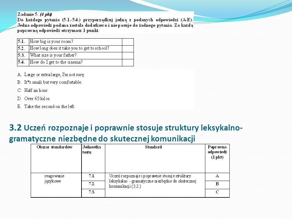 3.2 Uczeń rozpoznaje i poprawnie stosuje struktury leksykalno-gramatyczne niezbędne do skutecznej komunikacji