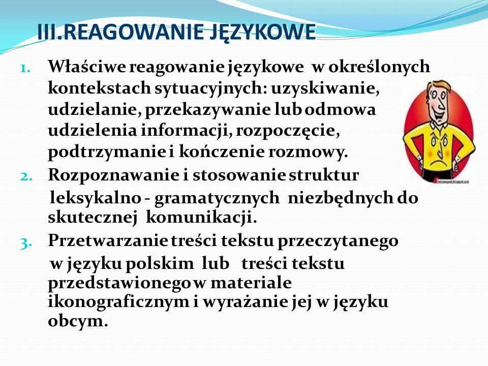 III.REAGOWANIE JĘZYKOWE