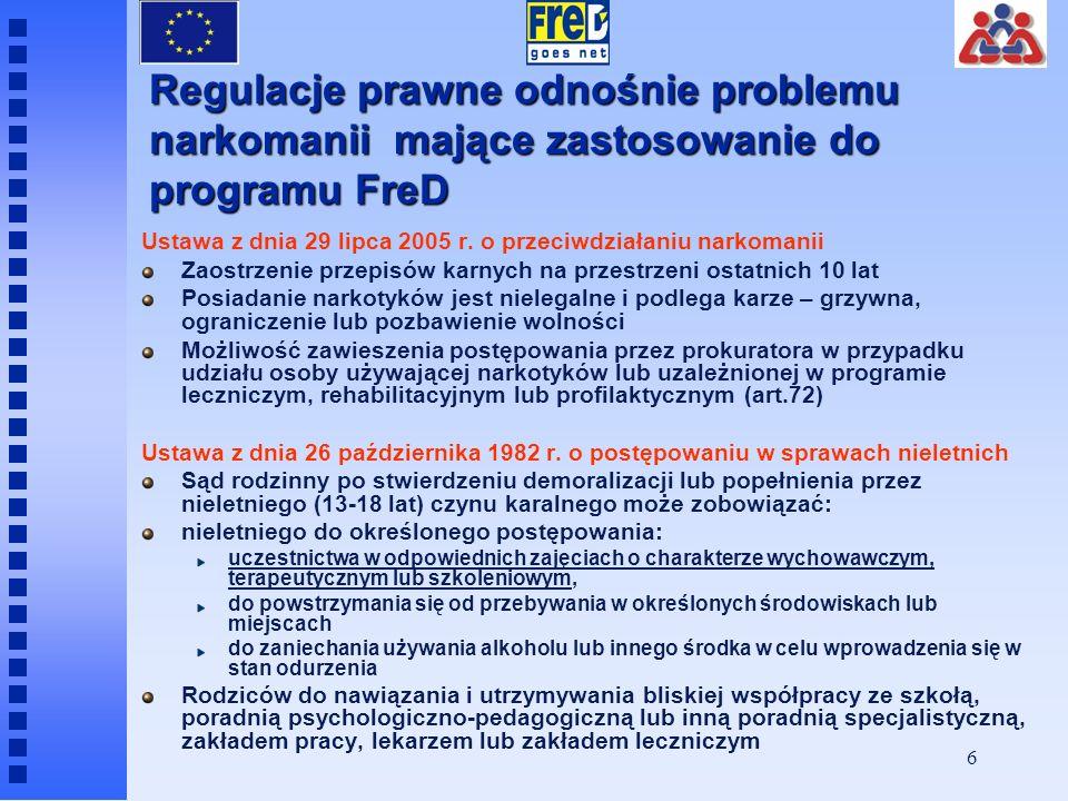 Regulacje prawne odnośnie problemu narkomanii mające zastosowanie do programu FreD