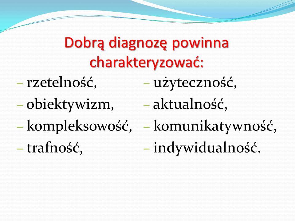 Dobrą diagnozę powinna charakteryzować: