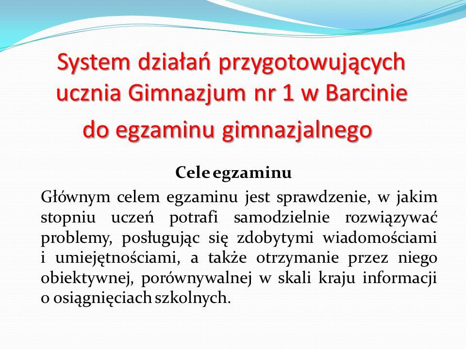 System działań przygotowujących ucznia Gimnazjum nr 1 w Barcinie do egzaminu gimnazjalnego