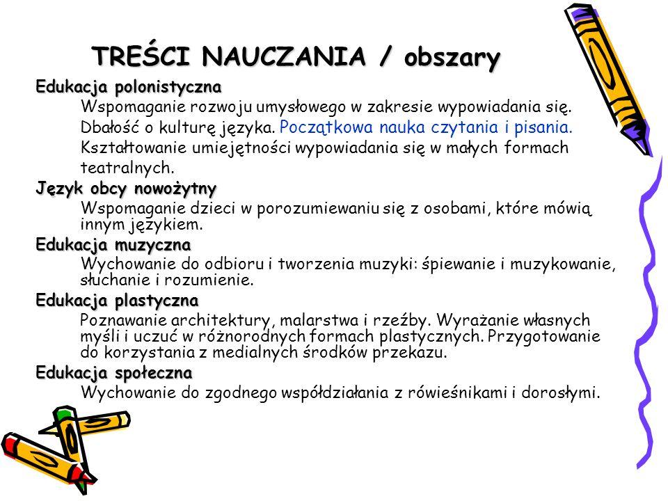 TREŚCI NAUCZANIA / obszary