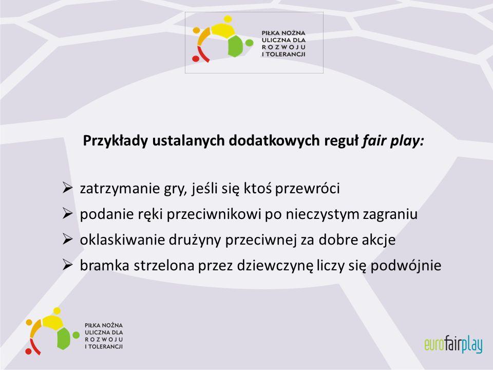 Przykłady ustalanych dodatkowych reguł fair play: