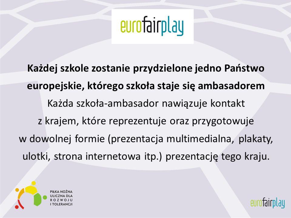 Każdej szkole zostanie przydzielone jedno Państwo europejskie, którego szkoła staje się ambasadorem