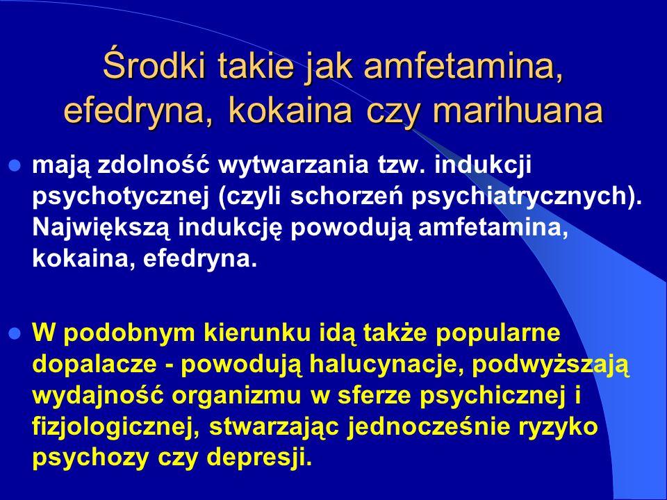 Środki takie jak amfetamina, efedryna, kokaina czy marihuana