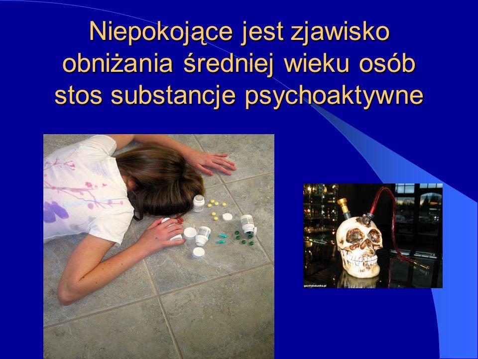 Niepokojące jest zjawisko obniżania średniej wieku osób stos substancje psychoaktywne