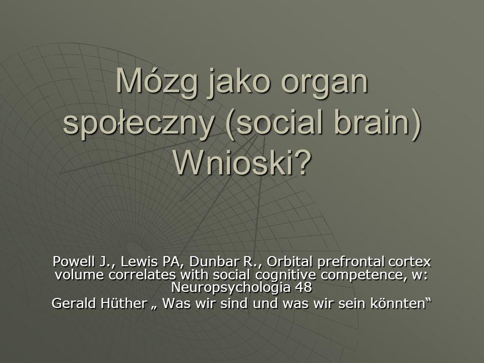 Mózg jako organ społeczny (social brain) Wnioski