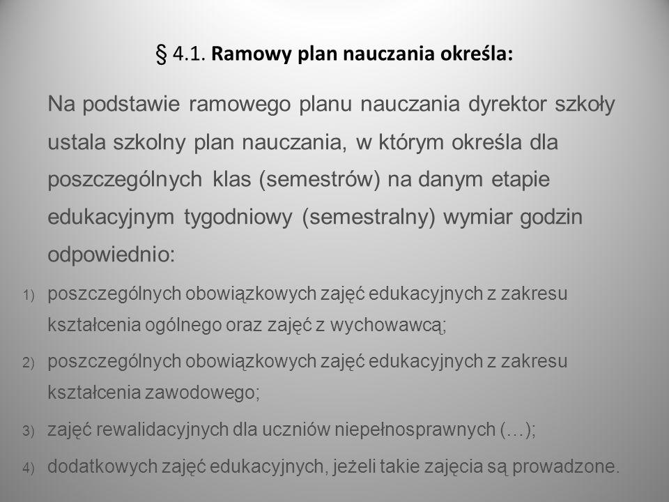 § 4.1. Ramowy plan nauczania określa: