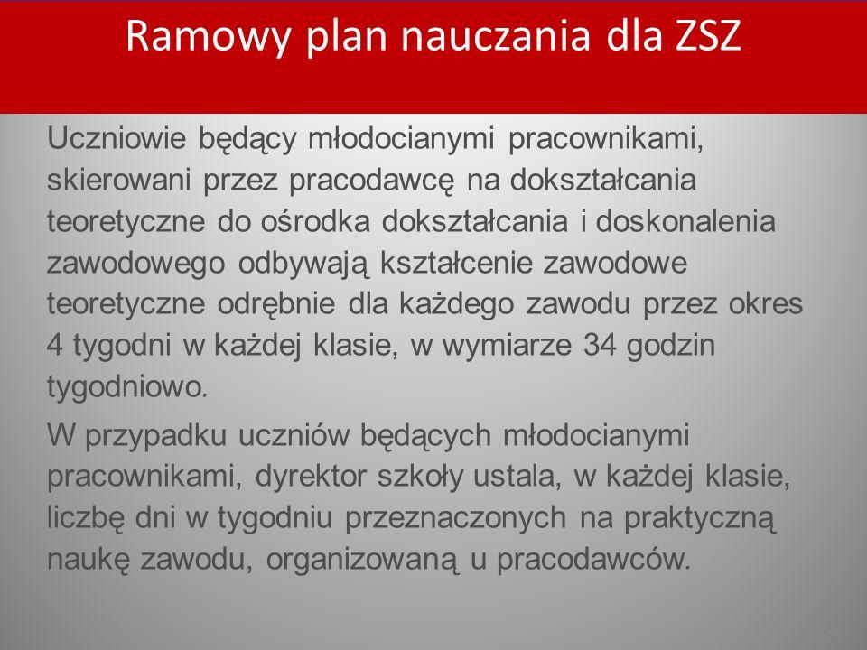 Ramowy plan nauczania dla ZSZ Ramowy plan nauczania dla ZSZ