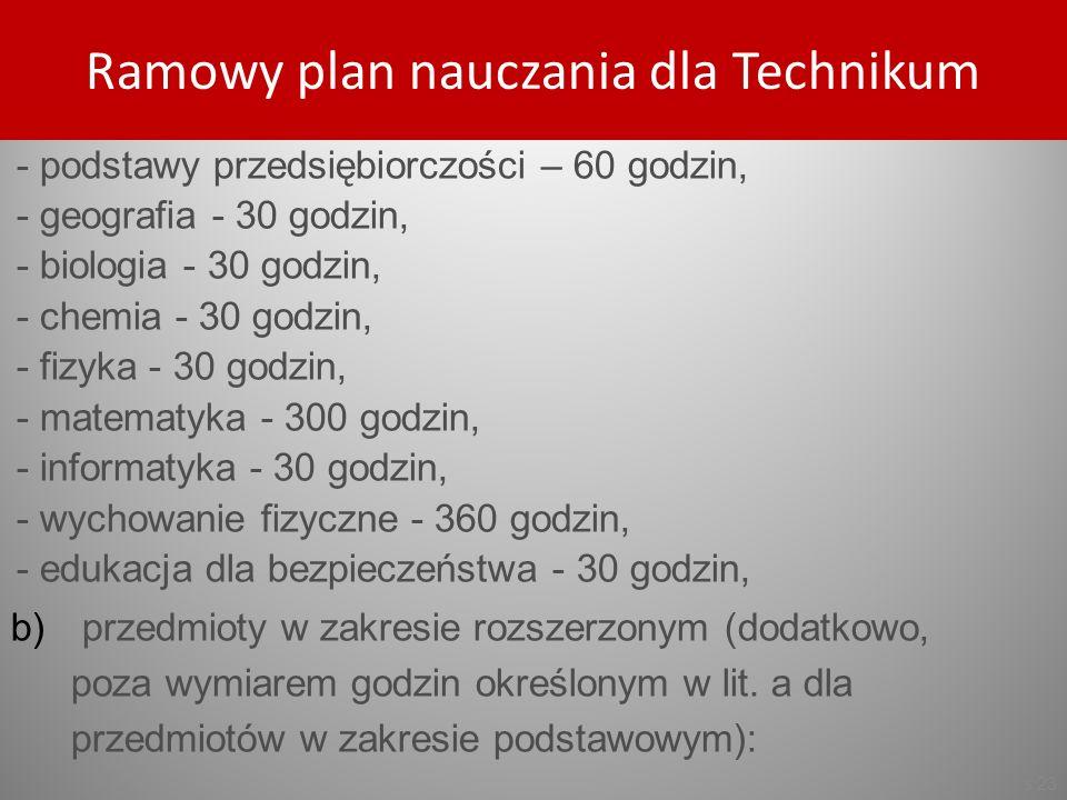 Ramowy plan nauczania dla Technikum
