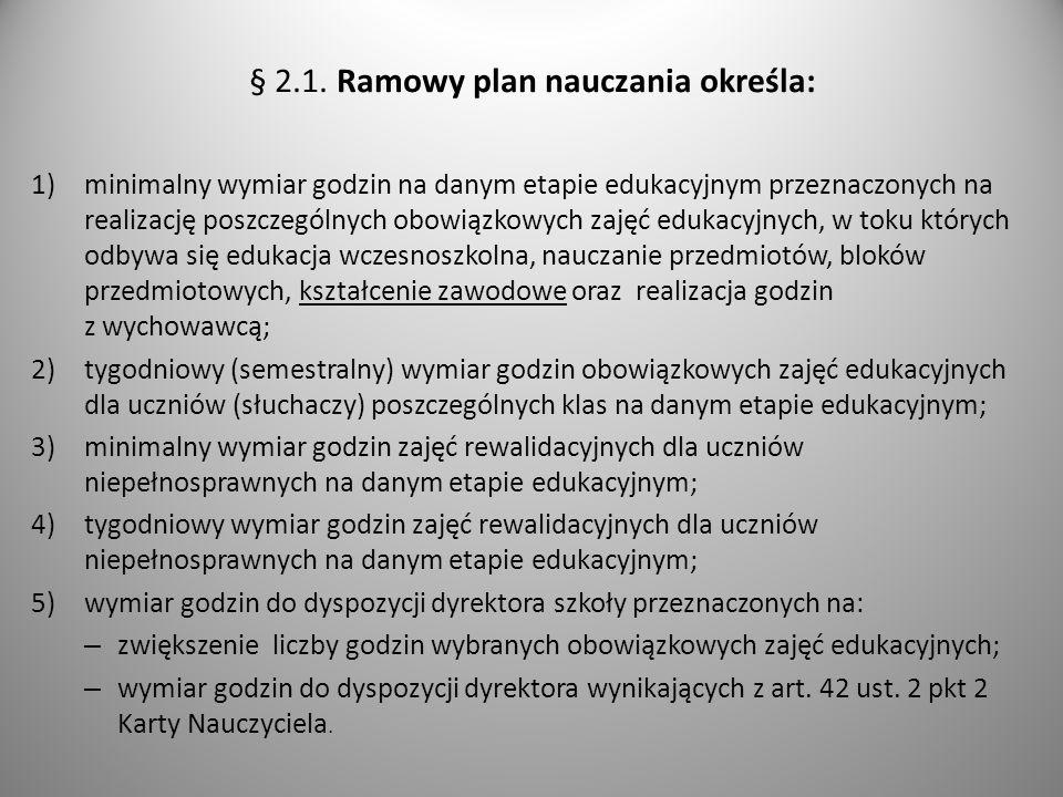 § 2.1. Ramowy plan nauczania określa: