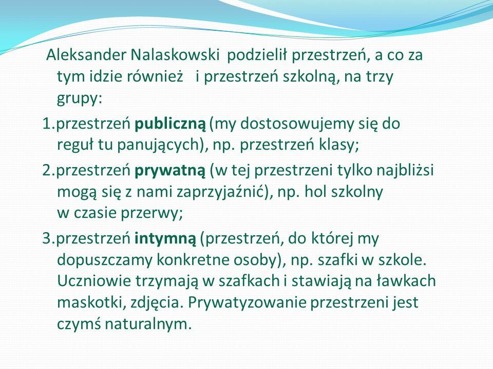 Aleksander Nalaskowski podzielił przestrzeń, a co za tym idzie również i przestrzeń szkolną, na trzy grupy: