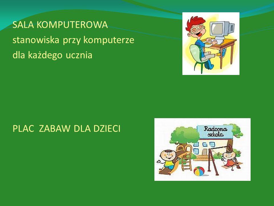 SALA KOMPUTEROWA stanowiska przy komputerze dla każdego ucznia PLAC ZABAW DLA DZIECI