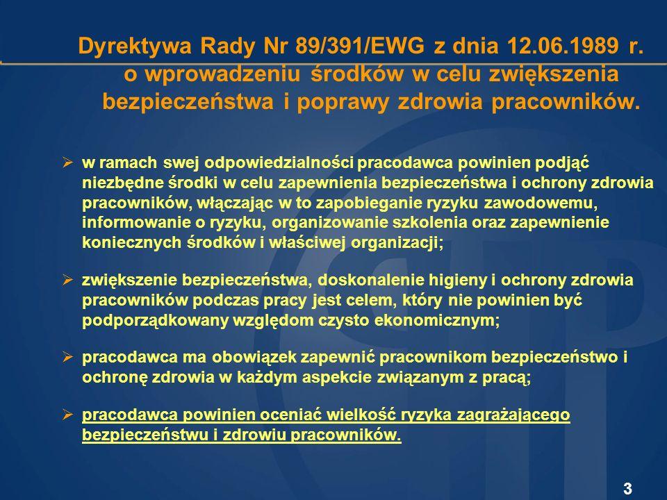 Dyrektywa Rady Nr 89/391/EWG z dnia 12. 06. 1989 r