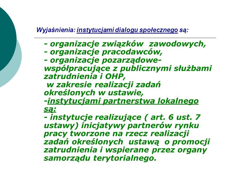 Wyjaśnienia: instytucjami dialogu społecznego są: