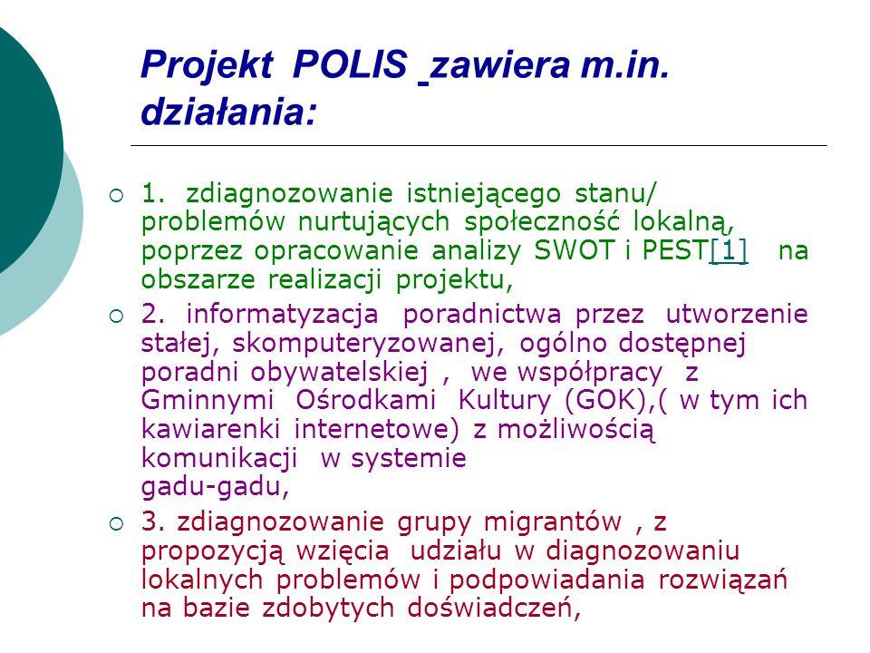 Projekt POLIS zawiera m.in. działania:
